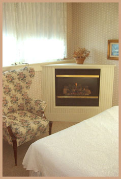 a romantic fireplace and a lovely view - room 16 at the wiley inn